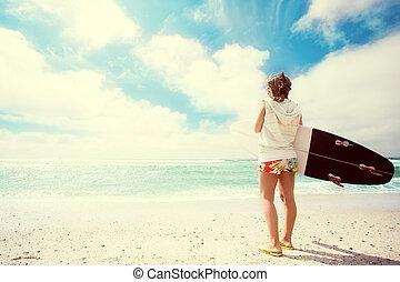 κορίτσι , παραλία , σέρφερ