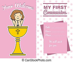 κορίτσι , πρώτα , επαφή , κάρτα