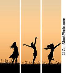 κορίτσι , σημαία , κάθετος , sunset.