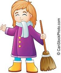 κορίτσι , σκούπα , κράτημα , γελοιογραφία