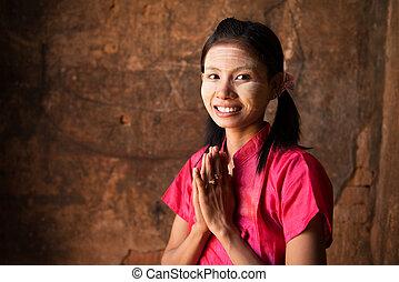 κορίτσι , υποδεχόμενος , myanmar