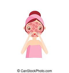 κορίτσι , φρούτο , μάσκα