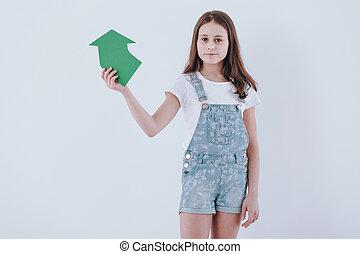 κορίτσι , χαρτί , κράτημα , βέλος