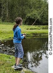 κορίτσι , ψάρεμα , λίμνη