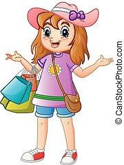 κορίτσι , ψώνια , γελοιογραφία