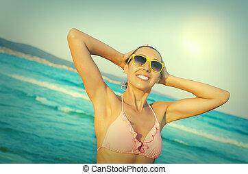κορίτσι , όμορφος , παραλία