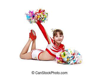 κορίτσι , cheerleading , κειμένος , πάτωμα