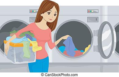 κορίτσι , laundromat