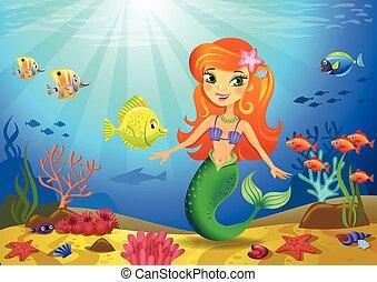 κοραλλένιο χρώμα , πάτος της θάλασσας , γοργόνα