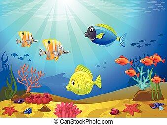 κοραλλένιο χρώμα , πάτος της θάλασσας