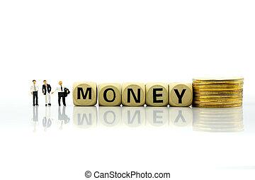κορμός , επιχείρηση , people:, επιχειρηματίας , κέρματα , θημωνιά , ανάπτυξη , ξύλινος , μινιατούρα , οικονομικός , concept., χρήματα