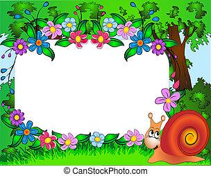 κορνίζα , για , φωτογραφία , σαλιγκάρι , και , λουλούδι