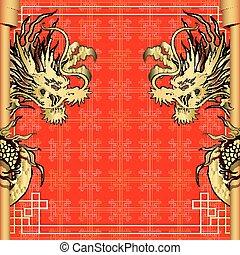 κορνίζα , κόκκινο , δράκος , gold-colored, αυτοκόλλητη ετικέτα , 4