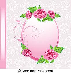κορνίζα , με , roses., εορταστικός , κάρτα