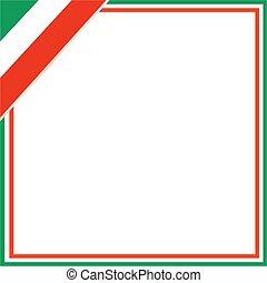 κορνίζα , τετράγωνο , corner., σημαία , ιταλίδα