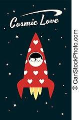 κοσμικός , αιλουροειδές , αγάπη , διαστημόπλοιο