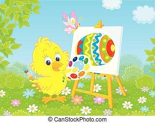 κοτοπουλάκι , μικρός , πόσχα , ζωγράφος