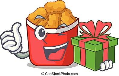 κοτόπουλο , σχήμα , γελοιογραφία , δώρο , βώλος