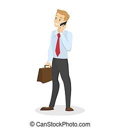 κουβέντα , κινητός , χέρι , τηλέφωνο , κράτημα , επιχειρηματίας