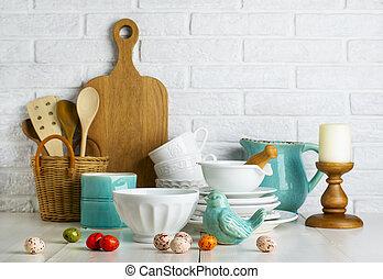 κουζίνα , εικών άψυχων πραγμάτων , με , κεραμικός , πουλί , και , easter αβγό