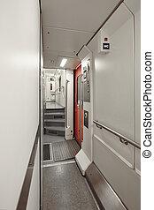 κουκέττα , βαγόνι ακολουθία , δίδρομος , indoor., πρώτα , floor., μεταφορά , υπηρεσία