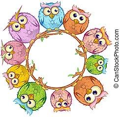 κουκουβάγιες , κύκλοs , άσπρο , γελοιογραφία , αδειάζω