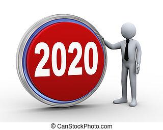 κουμπί , επιχειρηματίας , 2020, 3d