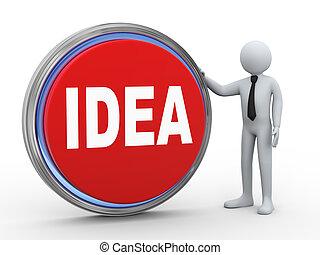 κουμπί , επιχειρηματίας , 3d , ιδέα
