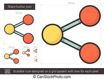 κουμπί , μερίδιο , γραμμή , icon.