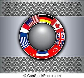 κουμπί , σημαίες , γκρί , φόντο