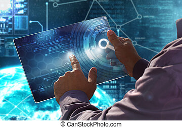 κουμπί , concept., επιχειρηματίας , date., business., κατ' ουσίαν καίτοι όχι πραγματικός , μέλλον , οθόνη , τεχνολογία , ασκώ πίεση , internet., δισκίο
