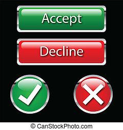 κουμπιά , αρνούμαι , δέχομαι