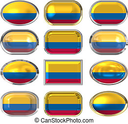 κουμπιά , δώδεκα , σημαία , κολομβία