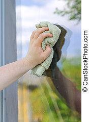 κουρέλι , πλύση , χέρι , παράθυρο , έξω , αρσενικό
