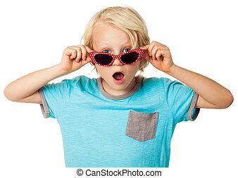 κουραστικός , αγόρι , γυαλλιά ηλίου , νέος , έκπληκτος