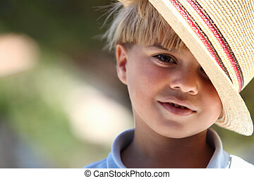 κουραστικός , αγόρι , μικρός , καπέλο , άχυρο
