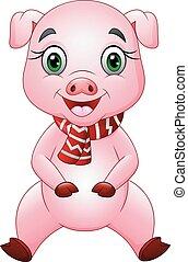 κουραστικός , γουρούνι , φουλάρι , γελοιογραφία , κόκκινο , ευτυχισμένος