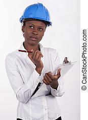 κουραστικός , γυναίκα , βλέπω , νέος , pad., αφρικανός , hard-hat , κατασκευή , νότιο