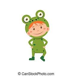 κουραστικός , εικόνα , μικροβιοφορέας , κοστούμι , παιδί , frog.