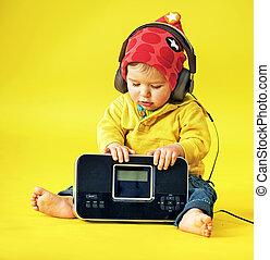 κουραστικός , ευτυχισμένος , μικρός , ακουστικά , παιδί