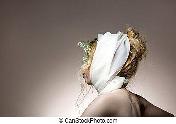 κουραστικός , κεφάλι , αυτήν , πίσω , μαλλιά , κυματιστός , διατυπώνω , μοντέλο , φουλάρι