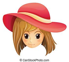 κουραστικός , κορίτσι , καπέλο , κόκκινο