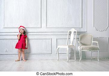 κουραστικός , μικρός , santa , πορτραίτο , κορίτσι , καπέλο