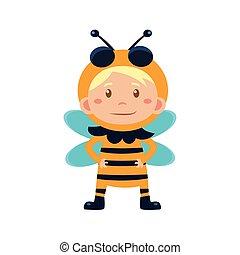 κουραστικός , bee., μικροβιοφορέας , εικόνα , παιδί , κοστούμι