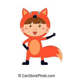 κουραστικός , fox., εικόνα , μικροβιοφορέας , κοστούμι , παιδί