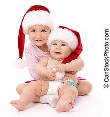 κουραστικός , xριστούγεννα , δυο , καλύπτω , χαμόγελο , παιδιά , κόκκινο