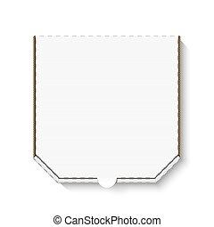 κουτί , άσπρο , χαρτόνι , κενό , πίτα με τομάτες και τυρί