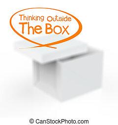 κουτί , έξω , σκεπτόμενος
