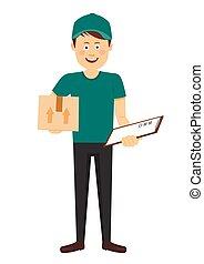 κουτί , αγόρι , νέος , ομοειδής , παράδοση , clipboard , πράσινο , έφηβος , ανάμιξη , χαμογελαστά