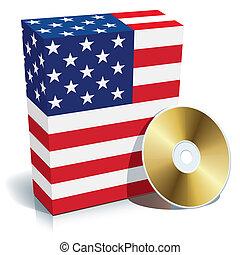 κουτί , αμερικανός , λογισμικό , cd